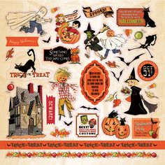 "12' x 12"" Sticker sheet from Carta Bella Paper Co's 2015 Halloween ""Trick or Treat"" line, designed and illustrated by Steve Duncan"