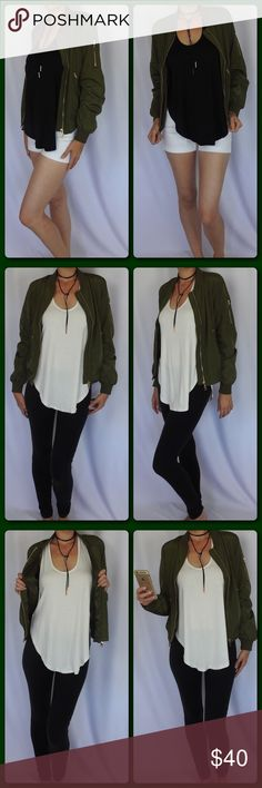 Bomber Jacket 💋 Trendy lightweight bomber jacket. This is this seasons must have. Stylish and sexy. ⭐️100% Polyester  ⭐️Lightweight and very comfortable  ⭐️Zipper details ⭐️Gorgeous Olive Green ⭐️Fits true to size ⭐️Model is 5'8-120 and wearing a medium ⭐️Paired with Honey Punch Tanks(available in closet) 🚫Trades/ PayPal or Mercari *️⃣Price Firm Unless Bundled Jackets & Coats