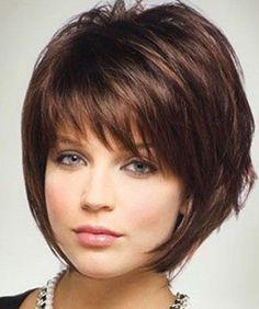 Bob Haircuts For Fine Hair - like the wispy bangs but would want slightly longer on sides - below chin - and stacked in back.