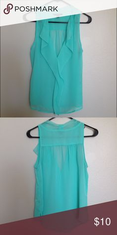 American Eagle Aqua V-Neck Chiffon Blouse w/Ruffle American Eagle bright aqua sheer chiffon blouse, V-neck with front ruffle and shirred details at sleeve and neck. Worn 1-2 times only, perfect condition. American Eagle Outfitters Tops Blouses