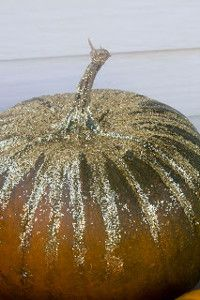 Oh, yes! The best way to welcome fall -Glitzy Glitter Painted Pumpkins. Kids can make these, but I'd like to also! It's never too early to start making crafts for fall.