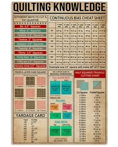 Cheat Sheets Quilting shirts, apparel, posters are available at Ateefad Outfits Store. Quilting Projects, Quilting Designs, Sewing Projects, Quilting Ideas, Diy Projects, Sewing Hacks, Sewing Tutorials, Sewing Crafts, Quilting Rulers