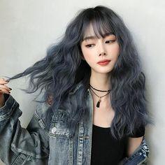 Hair Color Streaks, Hair Dye Colors, Hair Color Blue, Under Hair Color, Kpop Hair Color, Korean Hair Color, Japanese Hair Color, Korean Wavy Hair, Curly Asian Hair