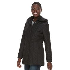 Women's Weathercast Quilted Hooded Midweight Jacket, Size: Medium, Black