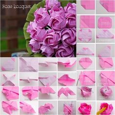 DIY Beautiful Origami Paper Rose Bouquet | www.FabArtDIY.com
