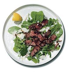 Steak with Parmesan Butter, Balsamic Glaze, and Arugula Recipe