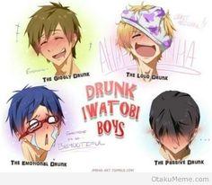 Which Type Of Drunk Bishounen Are You? ~ The drunk Iwatobi boys: Nagisa, Makoto, Rei, and Haru.....