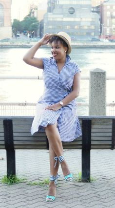 Gingham Dress & Boater Hat via http://closetconfections.com/2016/08/how-to-wear-gingham-2/