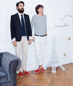 """Ines de la Fressange: maybe dressing in """"flag colours"""" is not on, but this ensemble is purely adorable: sailor stripes, white jeans  rd sneakers"""