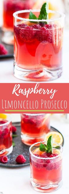 Raspberry Limoncello Prosecco - A refreshing and sparkling springtime lemon liquor cocktail with homemade raspberry simple syrup. add Limoncello soda instead Limoncello Cocktails, Prosecco Drinks, Summer Cocktails, Cocktail Drinks, Fun Drinks, Healthy Drinks, Cocktail Recipes, Alcoholic Drinks, Cocktail Ideas