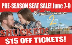 """Win great prizes from our local sponsors from this year's dinner theatre """"Shucked"""".  Our annual seat sale is just around the corner and it will be the only time this year to save $$ on all tickets.  You do not want to miss out on these savings.   Box Office - Charlottetown Rodd - 902-629-2321   Box Office - Brothers2 (Summerside) 902-436-7674"""