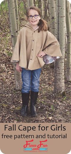 I love this free pdf sewing pattern for girls. This fall cape tutorial is a perfect sewing DIY idea! It looks really easy to put together and is great for layering in Autumn.