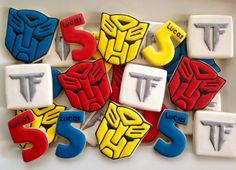 Transformer cookies by luxecookie on etsy Transformers Birthday Parties, 6th Birthday Parties, 8th Birthday, Birthday Ideas, Transformers Cupcakes, Transformer Party, Rescue Bots Birthday, Royal Icing Decorations, Birthday Cookies