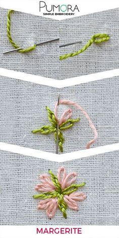 Blumen Sticken: Margeriten