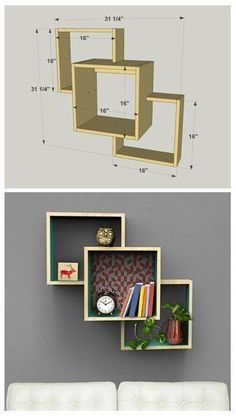 DIY Wall-Mounted Display Shelves :: Find the FREE PLANS for this project and man. - Rzeczy do kupienia - Regal Display, Creation Deco, Woodworking Projects Diy, Woodworking Tools, Popular Woodworking, Woodworking Furniture, Woodworking Accessories, Woodworking Planes, Woodworking Beginner