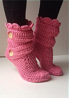 Women's Crochet Pink Slipper Boots Crochet by StardustStyle, $40.00