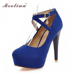 Meotina Sexy Women Platform High Heels Ladies Extreme High Heels Women Shoes Heels High Heels Ankle Strap Party Pumps Blue Beige