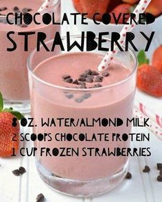 Chocolate Covered Strawberry Protein Shake made with Arbonne Protein - Arbonne - Detox Recipes Arbonne Shake Recipes, Arbonne Protein Shakes, Strawberry Protein Shakes, Protein Powder Shakes, Chocolate Protein Shakes, Protein Powder Recipes, Protein Shake Recipes, Healthy Shakes, Strawberry Smoothie