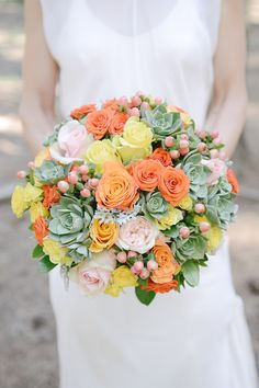 Roses & Succulent Bouquet - On SMP: http://www.StyleMePretty.com/australia-weddings/south-australia-au/2014/02/26/kuitpo-forest-wedding/ Floral Design: Bronte Woyziechowski | Jessica Yaeger Photography