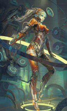 robot girl by # cyberpunk, robot girl, cyborg, futuristic… Character Concept, Character Art, Concept Art, Character Design, Android Girl, Art Pulp, Cyborg Girl, Female Cyborg, Cyberpunk Kunst