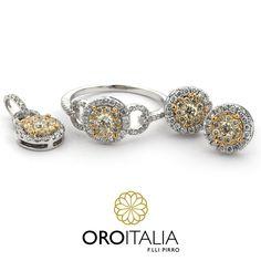 Juego de diamantes en oro blanco y amarillo.  Para precios llámanos al 303-6625(Obarrio) ref. 211587(DJ) 211595(AR) 211600(AN)   #oroitalia #joyería #oro #gold #joyeríaspanamá #jewelry #panama #diamonds #diamantes #anillo #aretes #dije #ring #earrings #pendant