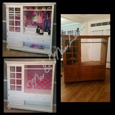 We repurposed an old entertainment center from the thrift store into a dress up closet for our Princess.