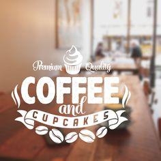 Coffee and cakes wall art sticker decal restaurant vinyl cof10