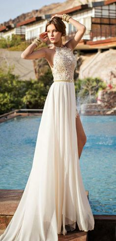 2015 Wedding Dresses A Line Sweep Train Organza With Beads