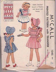 MOMSPatterns Vintage Sewing Patterns - McCall's 1245 Vintage 40's Sewing Pattern THE MOST ADORABLE Girls Smocked Sunsuit or Apron Dress, Tie Back Ends, Tap Panties Shorts, Brimmed Sun Hat, Bonnet Size 6