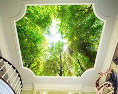 Tamanho personalizado grande teto mural papel de parede 3d estereoscópico paisagem papel de parede verde floresta papel de parede para casa decor frete grátis em Papéis de parede de Melhoramento Da casa no AliExpress.com | Alibaba Group