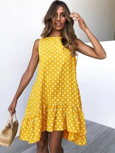 DESCRIPTION SKU: TO1000C334 Brand Name: ClothingI Material: Polyester Thickness: Regular Collar&neckline: Round neck Package Included: dress/1 Season: Spring,Summer SIZE CHART(cm) SIZE Bust Length s 93 93 m 98 94 l 103 95 xl 108 96 All dimensions are measured manually with a deviation of 1to 3cm.