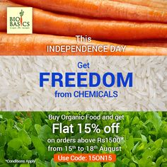 This Independence Day, let's take a vow to fight chemicals and go organic! Take a step and order from Bio Basics at Flat 15% off on orders above 1500. Offer Valid from 15th to 18th August 2019  Use Code- 15ON15 Organic Recipes, Independence Day, Vows, 18th, Conditioner, How To Apply, Coding, Flat, Vegetables