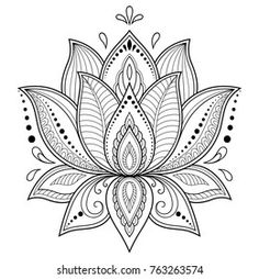Portfolio d'images et de photos de stock de Katika   Shutterstock Mandala Flower, Mehndi Flower, Tattoo Henna, Diy Tattoo, Hamsa Tattoo, Lotus Flower Tattoo Design, Flower Tattoos, Lotus Mandala Tattoo, Lotus Flower Art