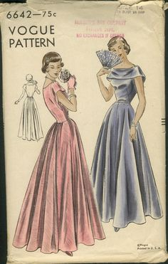 """Vogue 6642; ca. late 1940s; One-Piece Dress """"Easy-To-Make"""". Four-piece circular skirt with gathered fullness in back joins bodice at waist-line. Low round neck-line with bertha type collar at front extends to below armhole at back, forming cap sleeves."""