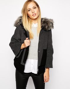 Grey Cropped Jacket with Faux Fur Hood - Just what I need for this winter.