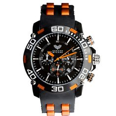 The Alpine chronograph timepiece is perfect for the sports-mad man who seeks adventure. Made of stainless steel with a rubber band and water resistance of 10 atmospheres, this watch is perfect for the outdoor enthusiast. Available in 4 bold colour options: red, orange, blue or green. This watch is backed by the Gerard McCabe 3 year warranty.