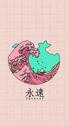 drawing of a tall, tidal wave, aesthetic iphone wallpaper Tumblr Wallpaper, Kawaii Wallpaper, Pastel Wallpaper, Cool Wallpaper, Wallpaper Backgrounds, Artistic Wallpaper, Wallpaper Lockscreen, Black Wallpaper, Dark Backgrounds