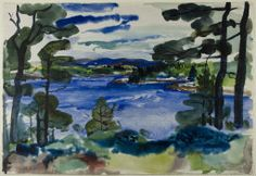 William Zorach,  American, 1889-1966,   Maine Landscape, 1927.   Watercolor over touches of charcoal on ivory watercolor paper,  390 x 568 mm