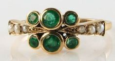 LOVELY 9CT YELLOW GOLD COLOMBIAN EMERALD & PEARL ART DECO INS RING FREE RESIZE | Jewelry & Watches, Vintage & Antique Jewelry, Fine | eBay!