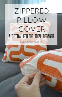 Sewing Pillows How to Make a Zippered Pillow Cover (tutorial for beginners)- I was one of those frightened by the thought of putting in a zipper once. But I took on the challenge and I'm sharing the easiest way to make a zippered pillow cover with you! Sewing Hacks, Sewing Tutorials, Sewing Patterns, Sewing Tips, Sewing Ideas, Tutorial Sewing, Zipper Tutorial, Craft Tutorials, Dress Patterns