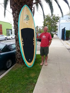 """Bruce picking up a gorgeous new 9'2"""" WD in Seafoam green..."""