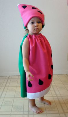 Watermelon Costume...  Fit is very roomy and forgiving- will even fit over a coat if its cold outside! (Adult sizes are based on unisex t-shirt sizes.)   Click here to ask me a question: http://www.etsy.com/conversations/new?with=notthekitchensink&ref=pr_contact  Its not a good idea to leave your baby or small child alone with one of my costumes on. Please supervise the kiddos at all times so that we can all have a safe Halloween! Thank you.
