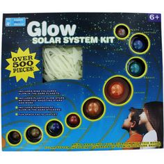 Bring space into your bedroom with this model solar system including hundreds of glow-in-the-dark shapes. Use the clear string to hang planets from your ceiling and recreate the universe in your own room. Includes the eight planets of our Solar System plus the dwarf planet Pluto. There are over 500 pieces to discover including glow in the dark stars, meteorites, shooting stars and hundreds of stickers.