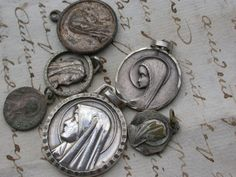 6PCS French antique religious medal solid bronze silver religious  virgin marie  sainte therese Our lady Notre dame C