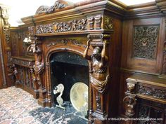 HAND CARVED WOODEN FIREPLACE, ANCHOR HOTEL, SHEPPERTON