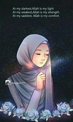 ideas quotes wallpaper iphone islamic for 2019 Hijab Drawing, Islamic Cartoon, Islam Women, Hijab Cartoon, Islamic Quotes Wallpaper, Love In Islam, Islamic Girl, Islam Facts, Islamic Inspirational Quotes