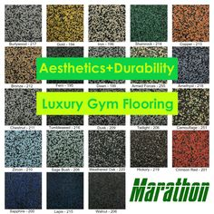 Not only does Marathon rubber flooring offer incredible durability, it is also environmentally friendly. Request samples of our athletic flooring solutions online now. #athletic #athletictraining #athleticperformance #gym #gymrat #gymlifestyle #gymgirl #marathon #marathonmonday Sage Bush, Luxury Gym, Gym Design, Recycled Rubber, Weathered Oak, Rubber Flooring, Flooring Options, Marathon