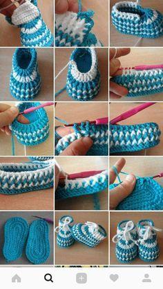 Best 12 Patucos de ganchillo tipo calcetín, hechos a mano, para bebés de m. Crochet Baby Boy Hat, Crochet Baby Sandals, Knit Baby Booties, Booties Crochet, Crochet Baby Clothes, Crochet For Boys, Newborn Crochet, Crochet Shoes, Crochet Slippers