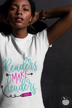Readers Make Leaders and this tee will be your new favorite reading tee.  Perfect for reading teachers, E/LA teachers, librarians, and other school staff, this teacher t-shirt will be a great addition to your collection.  Available in white and yellow this teacher tee will help celebrate a love of reading!  #teachertee #teachertshirt #readingtee #readersmakeleaders