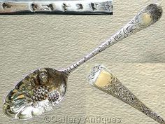 18th Century / Georgian 925 Sterling Solid Silver Bright Cut and Chased Repousse Floral Berry Spoon, Hallmarked for London, 1761 by GalleryAntiques